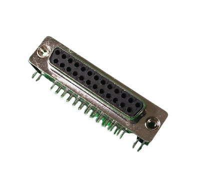 D-sub 25 Pin 2 Line Right Angle PCB Mounting Type Female Connector Socket 25POS