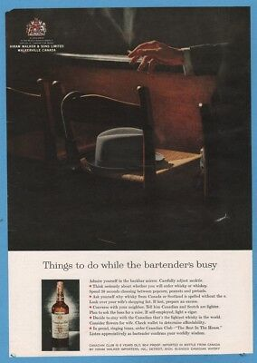 1961 Things to do while the bartender is busy Canadian Club bottle photo ad