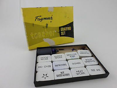 Vintage Faymus Teacher Grading Set Rubber Stamps - 12 Phrases - Metal Boxes
