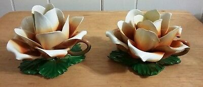 Capodimonte Pair Of Vintage  Rose Candle Holders Made In Italy