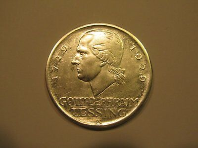 5 Reichsmark 1929A Silber Gotthold Lessing Weimar Germany