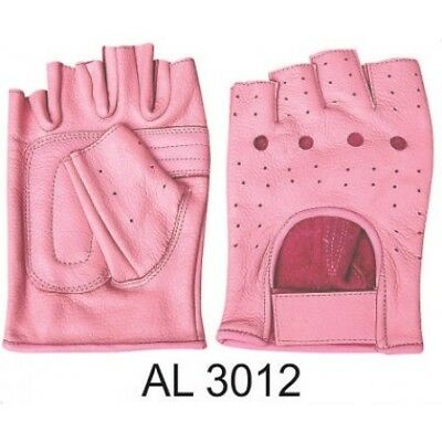 Ladies Motorcycle Training Heavy Duty Leather Padded Palm Pink Fingerless gloves