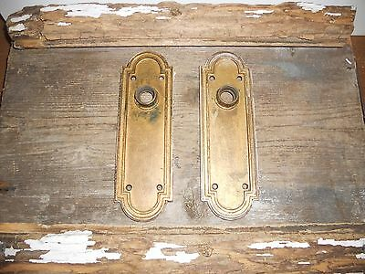 Vtg Arched Corbin Heavy Brass Chippy Gold Colored Raised Door Knob Backplates