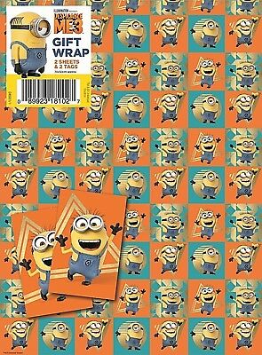 Official DESPICABLE ME 3 MINION Gift Wrapping Sheets + Tags x 2 **FREE UK POST**