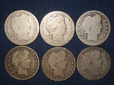 25C Barber Quarter Mixed Lot 1893-S 1896-O 1897-O 1899 1905-S 1911-D ~SIX IN ALL