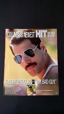 "Freddie Mercury ""mr. Bad Guy.""  (1985) Rare Original Print Promo Poster Ad"