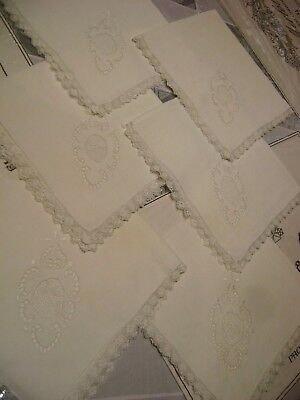 VICTORIAN ANTIQUE-CUT OUTWORK-HAND EMBROIDERY-SET 6 VINTAGE-Luncheon-NAPKINS