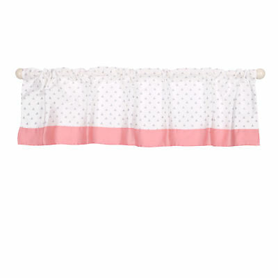 Grey and Coral Triangle Dot Window Valance by The Peanut Shell - 100% Cotton