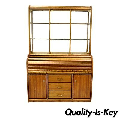 Vargas Furniture Oak Wood Roll Top Desk Secretary Hutch Display China Cabinet