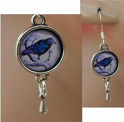 Silver Black Raven Charm Drop/Dangle Earrings Handmade Jewelry Hook NEW Fashion