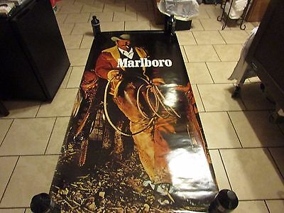"Vintage Marlboro Man Poster Door Size 75"" x 35-1/2"" Collectible Tobaciana 1985"