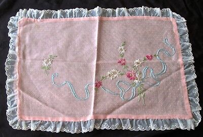 """antique Royal Society Pattern #453 pink pillowcase fully embroidered 17x10.5"""""""
