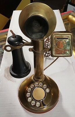 Beautiful  Brass Candlestick American Bell Telephone 1910 W/ Courtesy Box