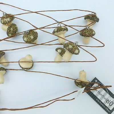 180 Degrees Christmas Garland Glittered Spun Cotton Mushrooms Woodland Rustic 6'