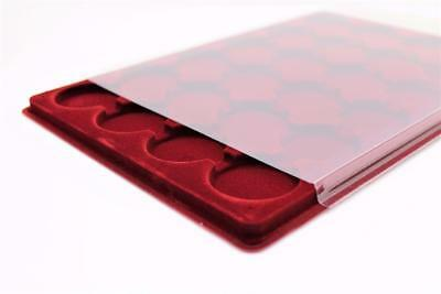 ProSCHULZ Red COIN TRAY for Crown, £5, Britannia, 24 Round Compartments ø 45mm