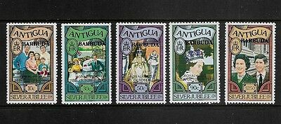 BARBUDA - mint 1977 Royal Visit opt on Antigua Silver Jubilee, set of 5, MNH MUH