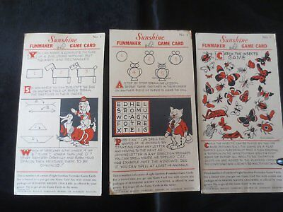 1932 Lot Sunshine Biscuuits Brown Cracker Candy Co Game cards