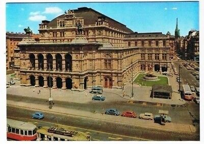 Austria Postcard Vienna Opera House Older European Cars