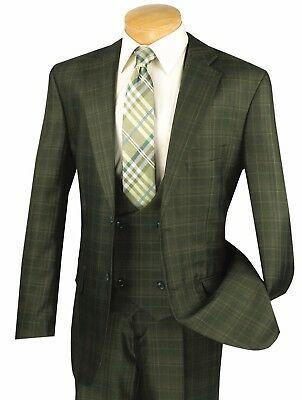 Men's Olive Glen Plaid 3 Piece 2 Button Classic-Fit Suit NEW w/ Matching Vest