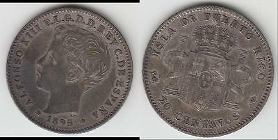 Just Reduced!! Scarce!! 1895 Puerto Rico (Child King) 20 Centavos Vf+