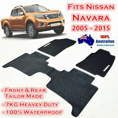 Waterproof Rubber Floor Mats Tailor Made Nissan Navara 2015 - 2017 Dual Cab