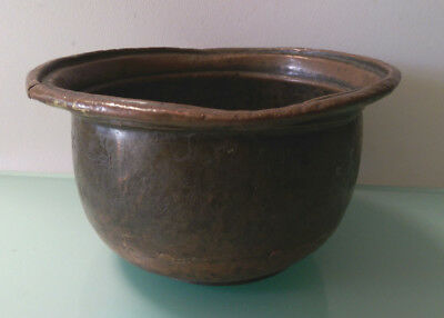 Antique Rustic Persian  Copper Bowl With Inscription.