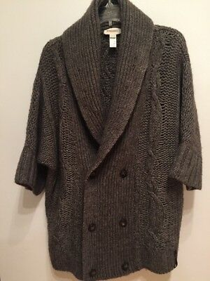 8e9f4b8804 DIESEL WOMENS BROWN Thick Cable Knit Boxy Wool Cardigan Sweater M ...