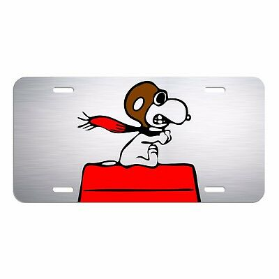 Snoopy Red Baron Aluminum License Plate Tag New car auto new peanuts LCT013c