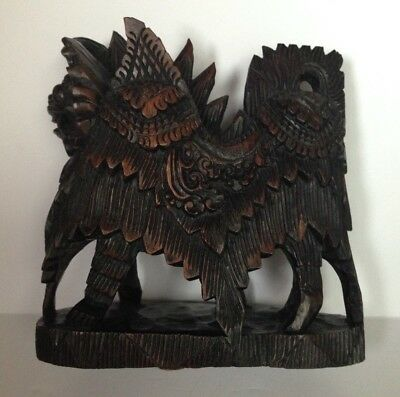 Vtg Asian Chinese Wood Carved Lion Horse Kirin  Foo Dog  Sculpture mint