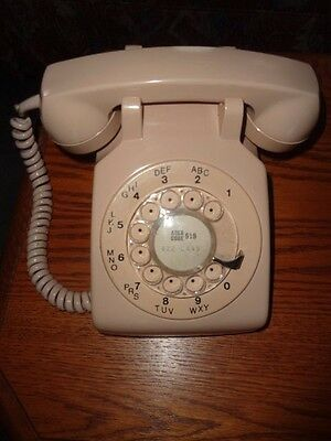 Dial Telephone - Beige/Pinkish Color - Working