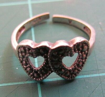 Double Heart .925 Silver Ring Small Size (cut)
