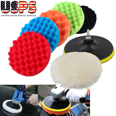 "7"" Polishing Sponge Waxing Buffing Pad Compound Auto Car Polisher Drill Kit US"