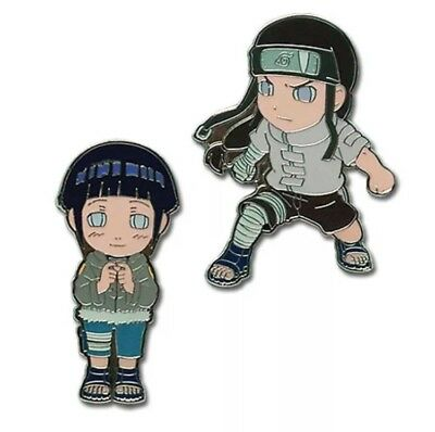 Naruto Metal Pin Set Hyuga Byakugan Clan SD Hinata & Neji AUTHENTIC LICENSED NEW