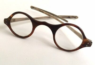 Antique Georgian Faux Tortoise Shell and Silver Spectacles Antique Eyeglasses