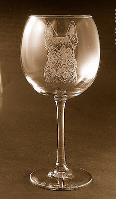 New! Etched Scottie / Scottish Terrier on Large Elegant Wine Glasses