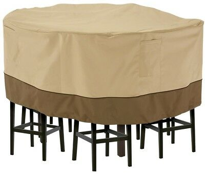 Classic Accessories Veranda Large Tall Round Patio Table 8 Tall Chairs Set Cover