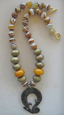 Ethnic Design Necklace/Vintage Gan Bronze Pendant/Striped Agate/African Amber