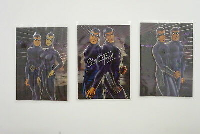 Phantom Gallery set of 3 Past, Present, Future cards 1996 signed by Glenn Ford