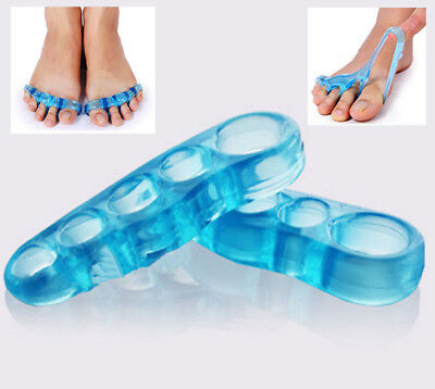 2 Pcs Orthotic Toe Straightener Blue Gel Silicone Separator Hammer Stretchers