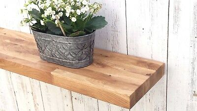Solid OAK wood floating Mantel shelf rustic with concealed Shelf Brackets