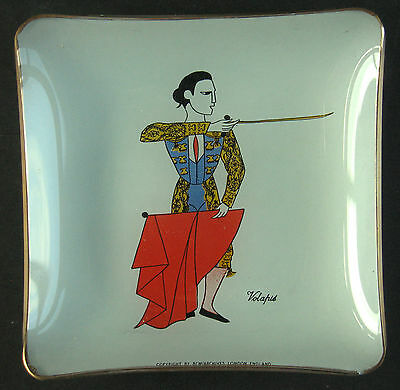 c.1950's Glass Ashtray / Dish Bullfighter Matador Volapie