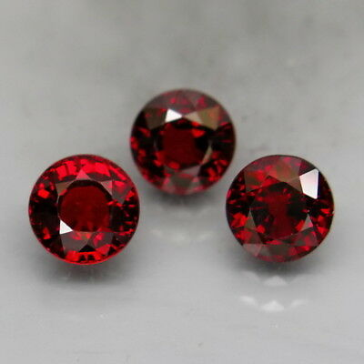 Round 5.5 mm.Outstanding Color Natural Red Spessartite Garnet 3Pcs/3.18Ct.