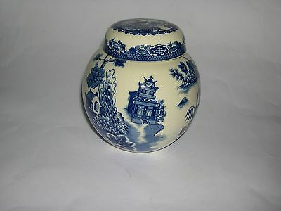 Burleigh Ironstone - Decorative Blue / White - Ginger Jar with Lid - Stamped.