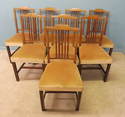Set Of 8  Antique  Mahogany Inlaid 19Th Century Dining Chairs