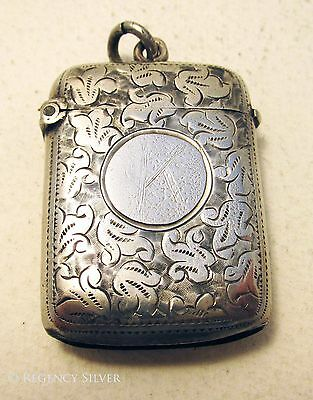 Victorian FLORAL (1900) Solid Sterling Silver English Vesta Match Striker Case