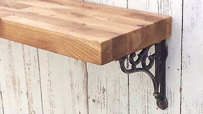 Solid OAK wooden floating Mantel shelf rustic with Shelf Support Brackets