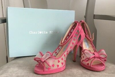 Charlotte Mills Wedding Shoes - Pink Alexis Heels UK SIZE 6, New With Box