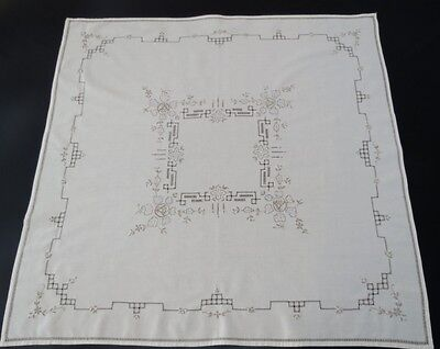 Vintage Drawn Thread Embroidered Supper Cloth, Tablecloth