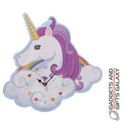 FUN UNICORN & RAINBOW DESIGNS DECORATIVE WALL CLOCK Home decor accessory