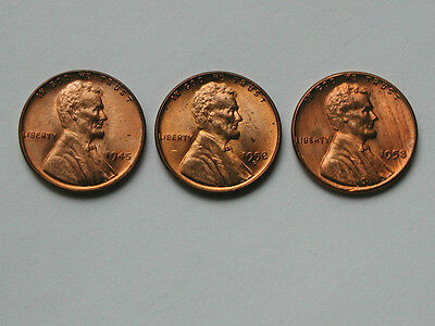 lot of 3 1945 1952D 1958 Lincoln Wheat Penny Coins - One Cent 1¢ - AU+ red/brown